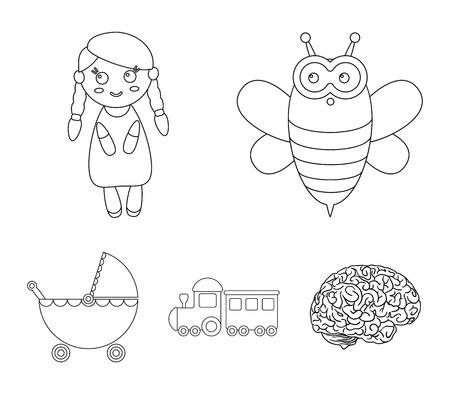 Abeille, poupée, train, poussette.Jouets définir des icônes de collection dans le style de contour vecteur symbole stock illustration web. Banque d'images - 95208497