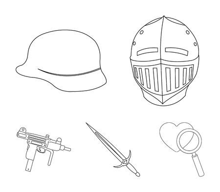A helmet of a medieval knight, a soldiers helmet, a sword, an automaton uzi. Weapons set collection icons in outline style vector symbol stock illustration web.