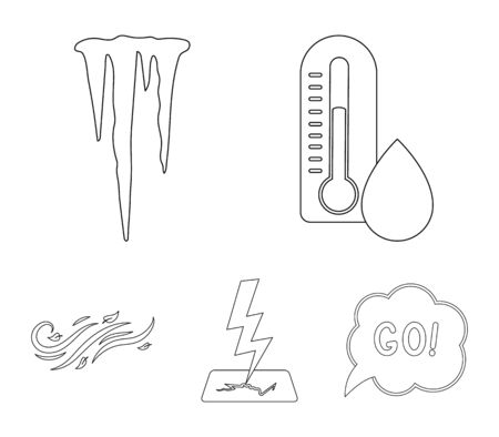 Humidity, icicles, thunderbolt, windy weather. Weather set collection icons in outline style vector symbol stock illustration web.