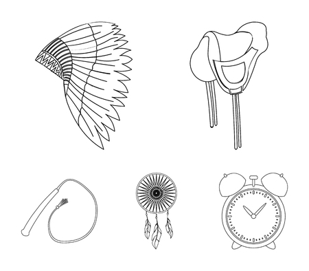 Saddle, Indian mohawk, whip, dream catcher.Wild west set collection icons in outline style vector symbol stock illustration web.