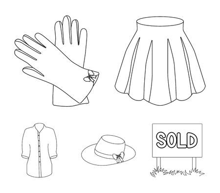 Skirt with folds, leather gloves, womens hat with a bow, shirt on the fastener. Womens clothing set collection icons in outline style vector symbol stock illustration web.