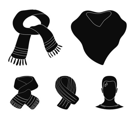Various kinds of scarves, scarves and shawls. Scarves and shawls set collection icons in black style vector symbol stock illustration . Stock Illustratie