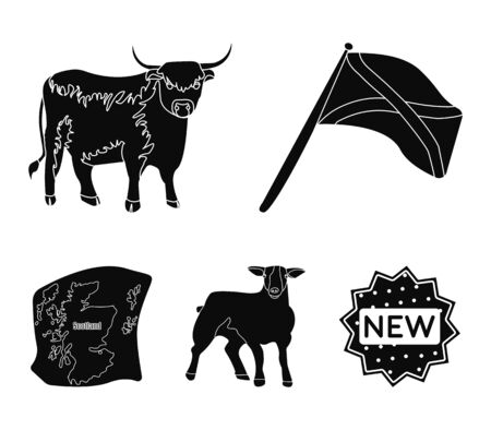 The state flag of Andreev, Scotland, the bull, the sheep, the map of Scotland. Scotland set collection icons in black style vector symbol stock illustration web. Çizim