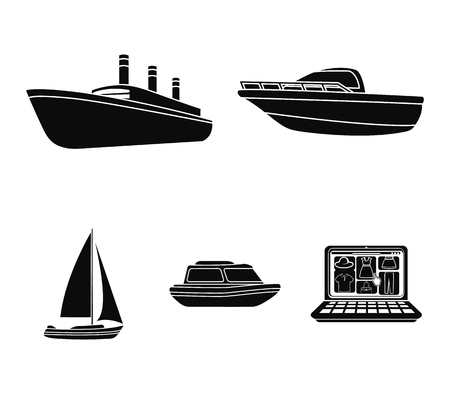 Protection boat, lifeboat, cargo steamer, sports yacht.Ships and water transport set collection icons in black style vector symbol stock illustration web.