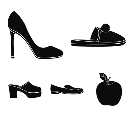Homemade slippers with a pampon, high-heeled womens shoes, low-heeled shoes, clogs, slippers on a high platform. Shoes set collection icons in black style vector symbol stock illustration .