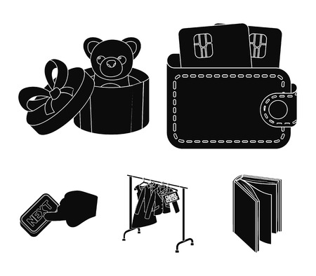 Purse with credit cards and other  icon in black style.gift sale of things, button more icons in set collection.