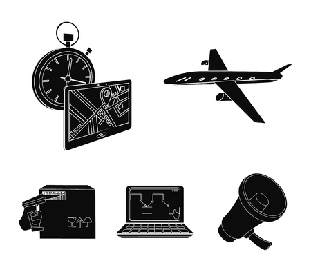 Transport aircraft, delivery on time, computer accounting, control and accounting of goods. Logistics and delivery set collection icons in black style isometric vector symbol stock illustration web.