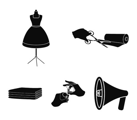 Fabric, scissors for cutting fabrics, hand sewing, dummy for clothes. Sewing and equipment set collection icons in black style vector symbol stock illustration .