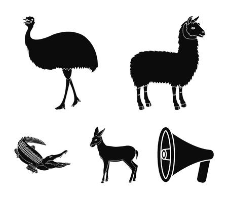 Lama, ostrich emu, young antelope, animal crocodile. Wild animal, bird, reptile set collection icons in black style vector symbol stock illustration . Ilustração