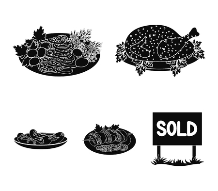 Fried chicken, vegetable salad, shish kebab with vegetables, fried sausages on a plate. Food and Cooking set collection icons in black style vector symbol stock illustration web. Ilustrace