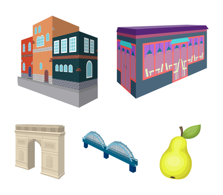 Arc de Triomphe in Paris, Reinforced bridge, cafe building, House in Scandinavian style. Architectural and building set collection icons in cartoon style vector symbol stock illustration web.