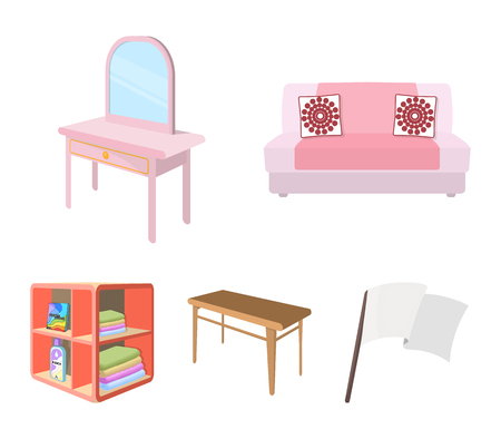 Soft sofa, toilet make-up table, dining table, shelving for laundry and detergent. Furniture and interior set collection icons in cartoon style isometric vector symbol stock illustration . Stock Illustratie