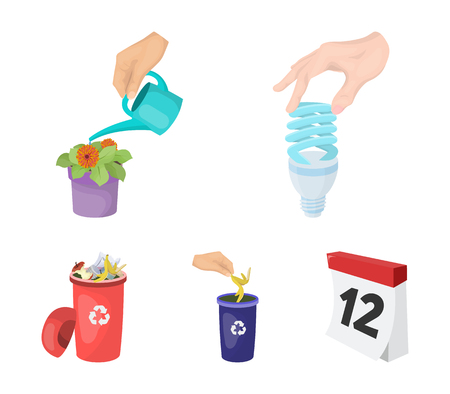 Energy-saving light bulb, watering a houseplant and other web icon in cartoon style. garbage can with waste and garbage icons in set collection. Illustration