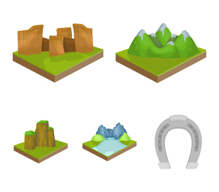 Mountains, rocks and landscape. Relief and mountains set collection icons in cartoon style isometric vector symbol stock illustration web.