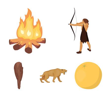 Man, hunter, onion, bonfire .Stone age set collection icons in cartoon style vector symbol stock illustration web.