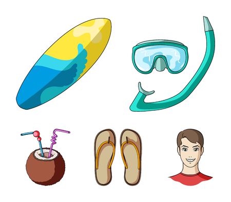 Diving, surfing, cocktail.Summer vacation set collection icons in cartoon style vector symbol stock illustration web. Illustration