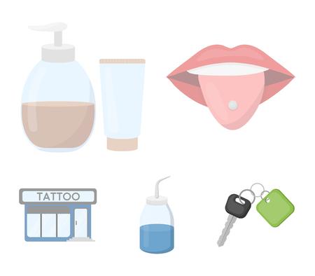 Piercing dans la langue, gel, sallon. Icônes de collection de tatouage en illustration stock de symbole de vecteur de le style dessin animé.