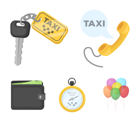 Handset with the inscription of a taxi, car keys with a key fob, a stopwatch with a fare, a purse with money, dollars. Taxi set collection icons in cartoon style vector symbol stock illustration . Illustration