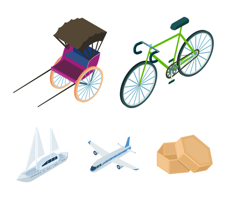 Bicycle, rickshaw, plane, yacht.Transport set collection icons in cartoon style vector symbol stock illustration web.