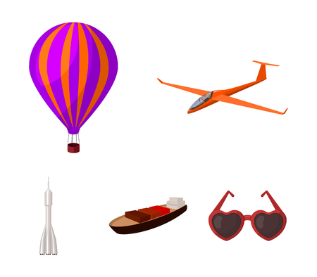 A drone, a glider, a balloon, a transportation barge, a space rocket transport modes. Transport set collection icons in cartoon style vector symbol stock illustration.