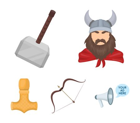Viking in helmet with horns, mace, bow with arrow, treasure. Vikings set collection icons in cartoon style vector symbol stock illustration . Illustration