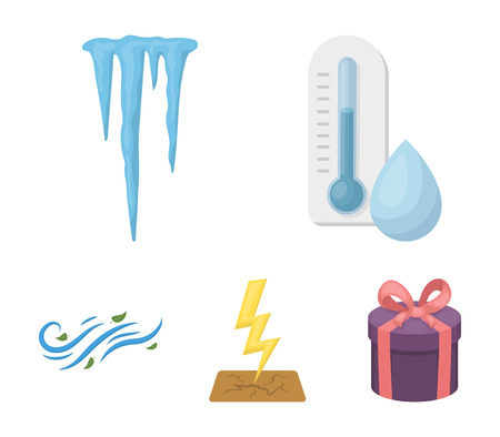 Humidity, icicles, thunderbolt, windy weather. Weather set collection icons in cartoon style vector symbol stock illustration . 일러스트