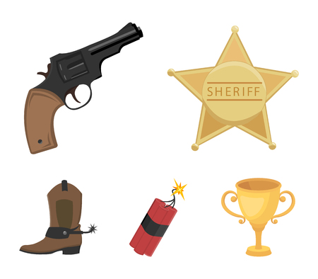 Star sheriff, dynamite, cowboy boot. Wild West set collection icons in cartoon style vector symbol stock illustration web.