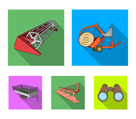 Plow, combine thresher, trailer and other agricultural devices. Agricultural machinery set collection icons in flat style vector symbol stock illustration .