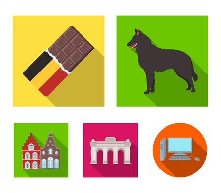 Chocolate, cathedral and other symbols of the country.Belgium set collection icons in flat style vector symbol stock illustration . Illustration