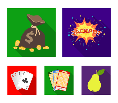 Jack sweat, a bag with money won, cards for playing Bingo, playing cards. Casino and gambling set collection icons in flat style vector symbol stock illustration web.
