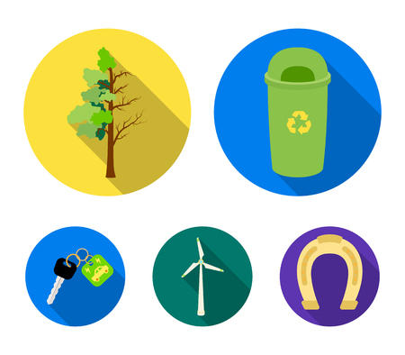 A garbage can, a diseased tree, a wind turbine, a key to a bio car.Bio and ecology set collection icons in flat style vector symbol stock illustration Illustration
