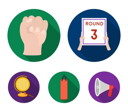 Boxing, sport, round, hand .Boxing set collection icons in flat style vector symbol stock illustration . Illustration