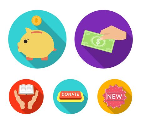 Hand with money for poshestvovaniya, a piggy bank for charity, a button with an inscription, a book for the blind in their hands. Illustration