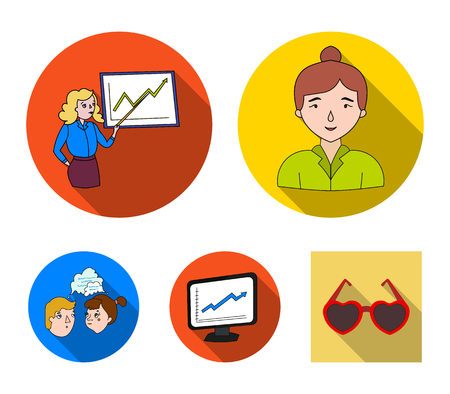 Businesswoman, growth charts, brainstorming.Business-conference and negotiations set collection icons in flat style vector symbol stock illustration .