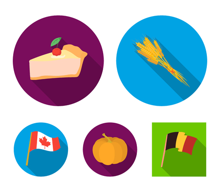 Spike of wheat, a piece of pie with cranberries, pumpkin, national flag.Canada thanksgiving day set collection icons in flat style vector symbol stock illustration .