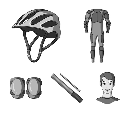 Full-body suit for the rider, helmet, pump with a hose, knee protectors.Cyclist outfit set collection icons in monochrome style vector symbol stock illustration . Çizim