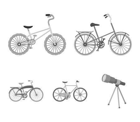 Childrens bicycle and other kinds.Different bicycles set collection icons in monochrome style vector symbol stock illustration .