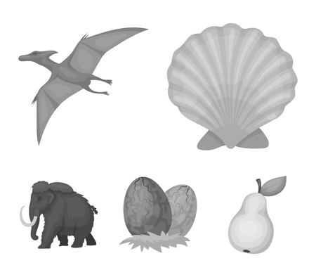 Dinosaur and prehistoric period set collection icons in monochrome style vector symbol stock illustration web. Иллюстрация