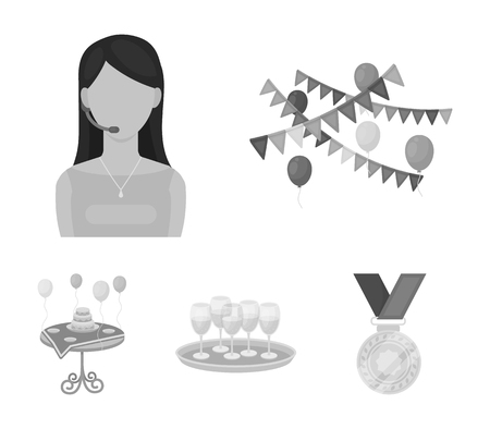 Event services set collection icons in monochrome style vector symbol stock illustration web. Illustration