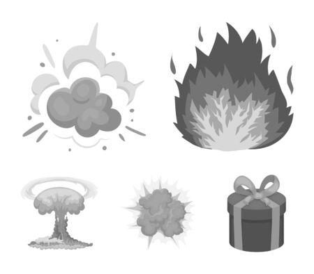 炎、火花、水素断片、原子またはガス爆発。モノクロスタイルベクトルシンボルストックイラストの爆発セットコレクションアイコン