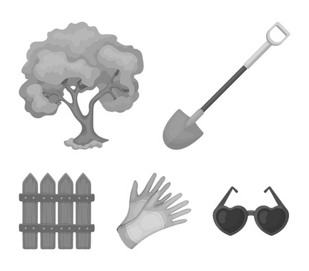 A shovel with a handle, a tree in the garden, gloves for working on a farm, a wooden fence. Farm and gardening set collection icons in monochrome style vector symbol stock illustration .