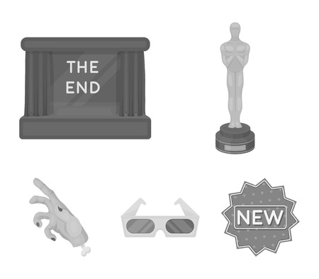 Award Oscar, movie screen, 3D glasses. Films and film set collection icons in monochrome style vector symbol stock illustration web. Stock Illustratie