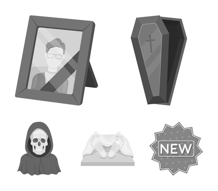 Coffin with a lid and a cross, a photograph of the deceased with a mourning ribbon, a corpse on the table with a tag in the morgue, death in a hood. Funeral ceremony set collection icons in monochrome style vector symbol stock illustration . Illustration