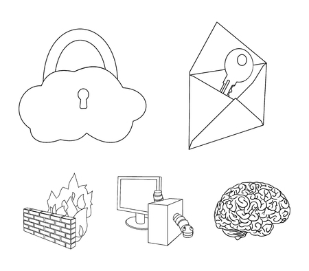 System, internet, connection, code .Hackers and hacking set collection icons in outline style vector symbol stock illustration .