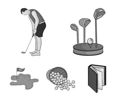 Stand for a golf club, muzhchin playing with a club, basket with balls, label with a flag on the golf course. Golf Club set collection icons in monochrome style vector symbol stock illustration .
