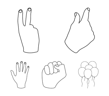 Open fist, victory, miser. Hand gesture set collection icons in outline style vector symbol stock illustration .