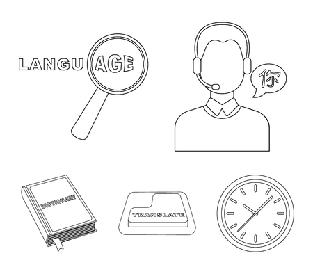 A translator in headphones, a magnifying glass showing translation, a button with an inscription, a book with a bookmark. Interpreter and translator set collection icons in outline style vector symbol stock illustration web.