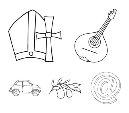 Mandolin, papa, olive, retro auto.Italy country set collection icons in outline style vector symbol stock illustration .