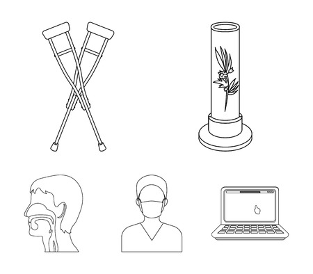 Plant in vitro, crutches, nurse, human respiratory system. Medicine set collection icons in outline style vector symbol stock illustration web.