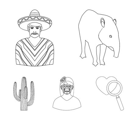 Tapir Mexican animal, a Mexican in national clothes in a poncho, a woman with a flower, a cactus. Mexico country set collection icons in outline style vector symbol stock illustration web. Illustration